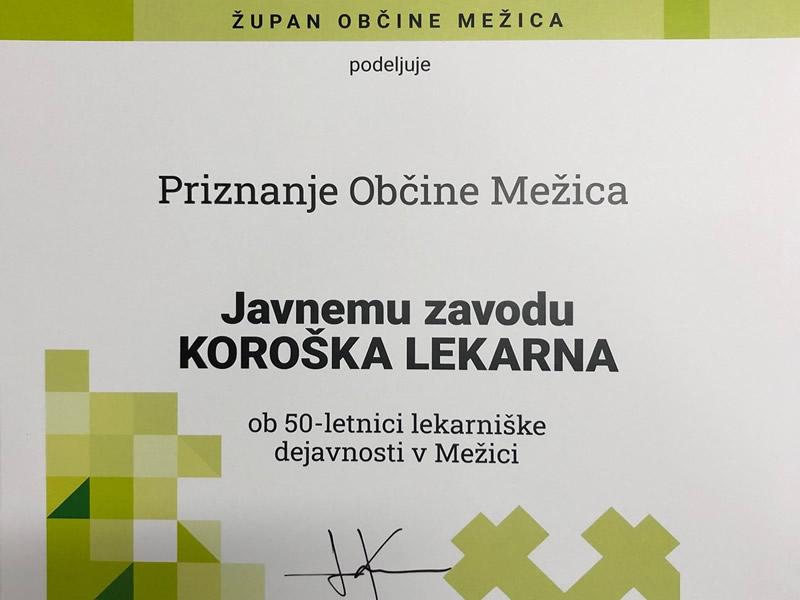 Priznanje župana občine Mežica
